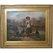 "SALE Antique Large FreserickHendrick KAEMMERER ""Feeding Turkeys"""