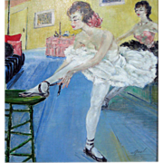 """SALE """"A. Real"""" School of Paris   Oil of on canvas  Ballerinas c. 1930s"""