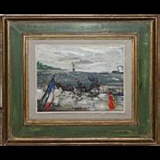 SALE GABRIEL DAUCHOT-French Impressionst-Oil Painting-Parisian Waterfont Landscape