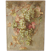 SALE Elizabeth Janes Borglum, Listed Early California Still  Life With Hanging Grapes