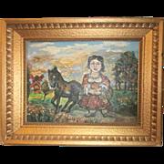 "SALE Spectacular David Burliuk (1882-1967) Oil   ""Woman with Donkey"""