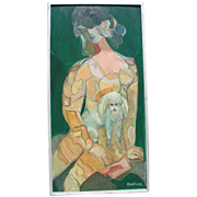 SALE Anya Fisher (1905-1992) org oil. Young Woman and her Dog.