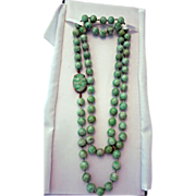 "Vintage 34""   Natural Burmese Green Jadite Jade Necklace with 14 Gold Clasp"