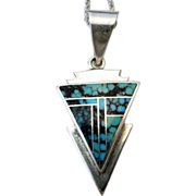 Vintage Turquoise Sterling Silver Indian Pendent