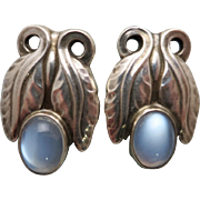 Georg Jensen Leaf Earrings No. 108 w/ Blue Moonstones