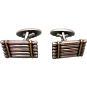Vintage Georg Jensen Danish Sterling Silver and Gold Cuff Links