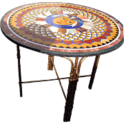 SALE Micro Mosaic Pietra Dura Round Table Top with Custom Bas