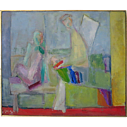 "SALE Rose Kuper (1888-1987) Abstract Modern Cubist Dated 1959 Title ""Progeny"" New Yo"
