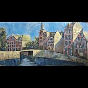 """SALE Large Org John Linn oil painting """"Dutch Canal Scene"""" Holland Mid Century"""