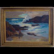 SALE Marian Williams Steele1912 - 2011 Large Oil Laguna Beach California Dated 1944