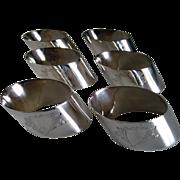 6 - Vintage 1901 English Sterling Silver Napkin Rings
