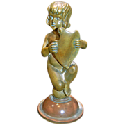 19TH Century Bronze of Child Holding a Shield