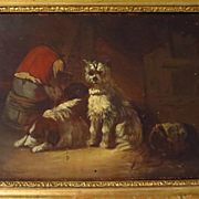 SALE Old Man and Three Dogs 19th Century Oil Painting Genre Scene