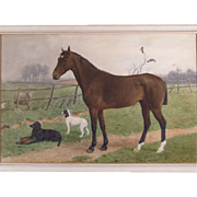 SOLD Watercolor Painting Horse Dogs Sheep Stephen Briggs Carlill