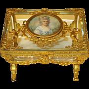 French Baccarat Glass Vitrine Casket Dore Bronze Mounts Portrait Miniature