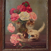 SOLD Kittens and Flowers Oil Painting by Marguerite Dorbritz