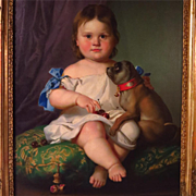 Young Child with Pug Dog Oil Portrait 19th Century