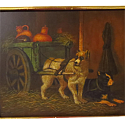SALE Dogs Pulling Milk Cart Oil on Panel Painting