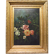 SALE Victorian Oil Painting of Roses Ornate Gesso Frame