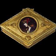 Antique French Limoges Enamel Miniature Bronze Box Casket