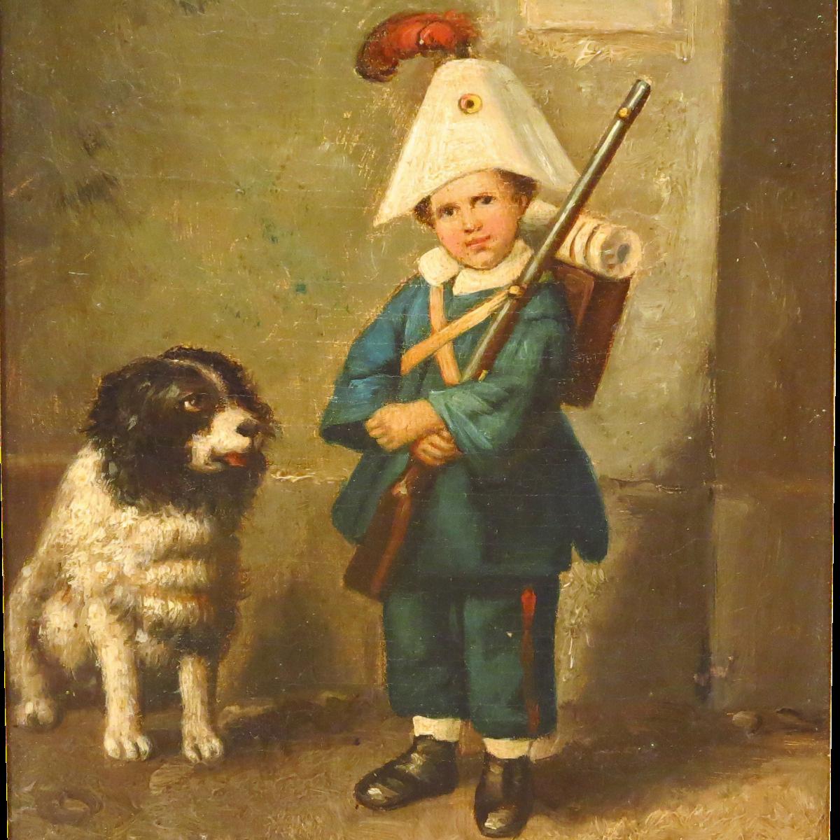Antique European large oil painting boy portrait by