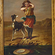 SALE 19th Century Oil Painting Girl and Whippet Dog