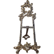 SOLD Large Vintage Table Easel Ornate Silver Metal