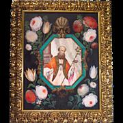SALE Flemish Oil on Paper Religious Painting Saint Blaise