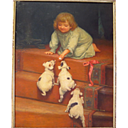 SOLD Antique Painting on Porcelain Young Girl and Puppies