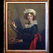 SALE Oil on Canvas Painting Portrait Elisabeth Vigee-Lebrun Authorized Copy Uffizi Gallery