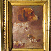 SOLD Dog Oil Portrait Painting of Spaniel