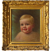 SALE Oil Portrait Beautiful Baby