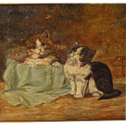 Two Kittens Antique Oil Painting Signed