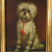 Dog Oil Portrait White Terrier Circle of Carl Reichert