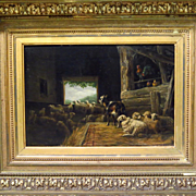 Early 19th Century Oil Painting Sheep and Goat in Stable Monogrammed