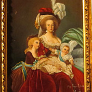 SOLD Antique Portrait Marie Antoinette with Children After Vigee-Lebrun