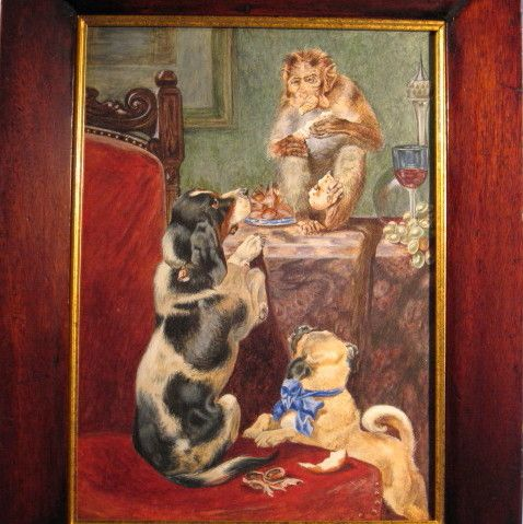 Dogs Monkey Trio Watercolor Painting
