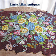 SOLD Glorious Floral Hand Hooked Rug Unfinished