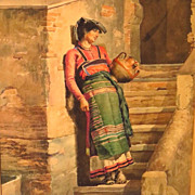 SALE Large Spanish Watercolor Woman with Water Jug Signed