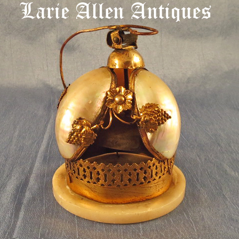 On Hold  Antique French Mother of Pearl Servant Desk Bell