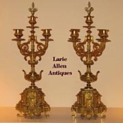SOLD Antique Pair French Gilt Bronze Candelabra Louis XV