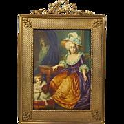 Miniature Painting Woman Child Dog