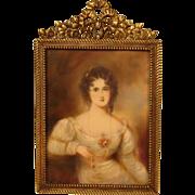 SOLD 19th Century Portrait Miniature Beautiful Aristocratic Woman
