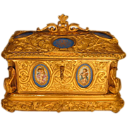 Antique French Gilt Bronze Jewelry Casket Sevres Style Porcelain Plaques
