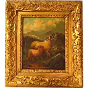 SOLD John W. Morris Highland Sheep Oil Painting Hand Carved Frame