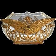 French Art Nouveau Bronze Crystal Eagle Vase