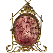 SOLD Antique French Pocket Watch Holder Vitrine Cranberry Glass Ormolu