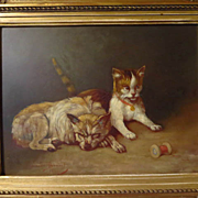 SOLD Antique Dog Cat Painting Camille Benoit French