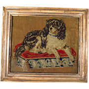 SOLD 19th Century Needlepoint Cavalier King Charles Spaniel 'Dash'