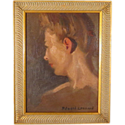 SOLD Beautiful Woman Impressionist Portrait Oil Painting Edward Leonard